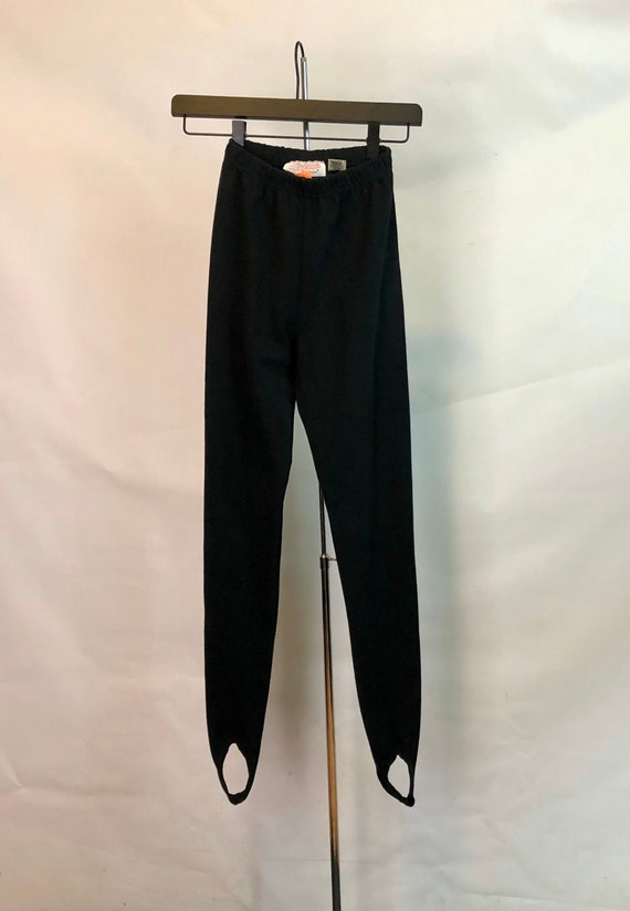 STIRRUP LEGGINGS Bodywear 1990's Vintage Black Wom