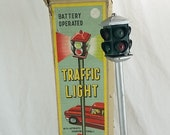 MAR Traffic Light, Vintage Tin Traffic Light, Line Mar Toy, Traffic Light, Battery Operated, Made In Japan