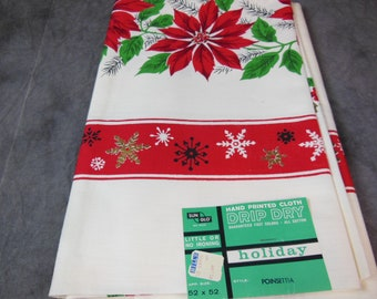 Poinsettia All Cotton Tablecloth, 52 X 52, New Old Stock, Sun Glo