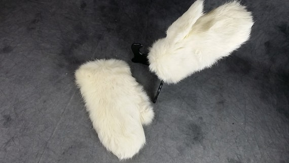 White Rabbit Fur Gloves, Kid Fur Gloves, White Gl… - image 1