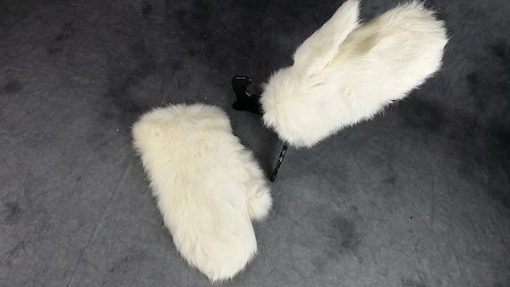 White Rabbit Fur Gloves, Kid Fur Gloves, White Glo