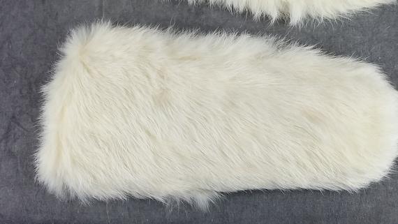 White Rabbit Fur Gloves, Kid Fur Gloves, White Gl… - image 6