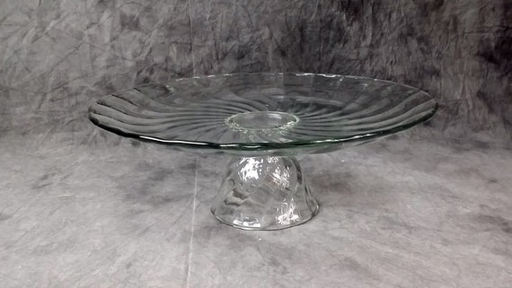 Large Swirled Clear Glass Cake Stand Vintage Cake Stand Etsy
