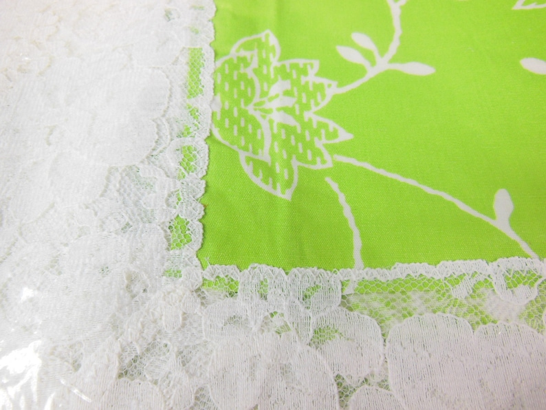 NOS New Old Stock With Original Label and Packaging Green Print and White Lace Tablecloth by Fifth Avenue Original