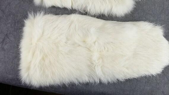 White Rabbit Fur Gloves, Kid Fur Gloves, White Gl… - image 4