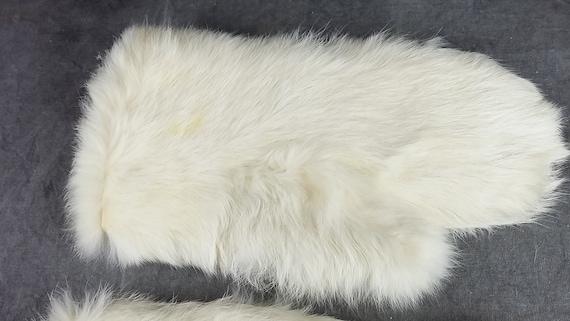White Rabbit Fur Gloves, Kid Fur Gloves, White Gl… - image 3
