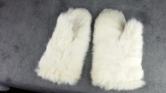 White Rabbit Fur Gloves, Kid Fur Gloves, White Gl… - image 2