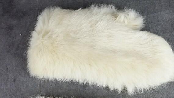 White Rabbit Fur Gloves, Kid Fur Gloves, White Gl… - image 5