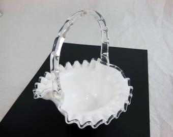 Fenton Vintage Silver Crest panier #7237 - Decor mariage - bol froissé