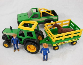 BUDDY L Super Brutes Farm Set, Pick Up, Tractor, Trailer, One Horse and Two Men