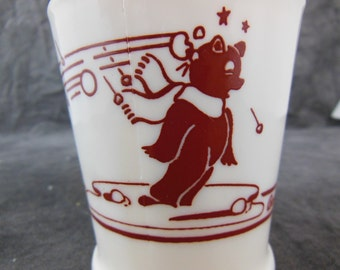 1950s BOSCO Mug with Chocolate Bear in a Snowball Fight - Fire King
