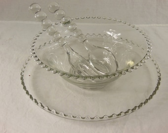Vintage Imperial Candlewick Glass Salad Bowl Set with Beaded Trim, Underplate, Bowl, Salad Fork and Spoon, 4 Pc Set