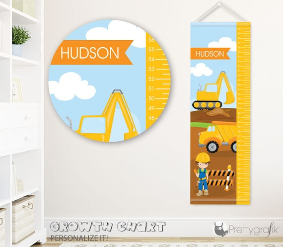 Sale Construction Growth Chart Personalized Growth Chartkids Etsy