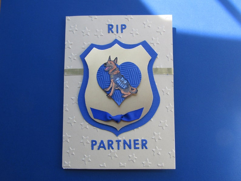 Dog over shield and heart Sympathy for K-9 Partner RIP Partner