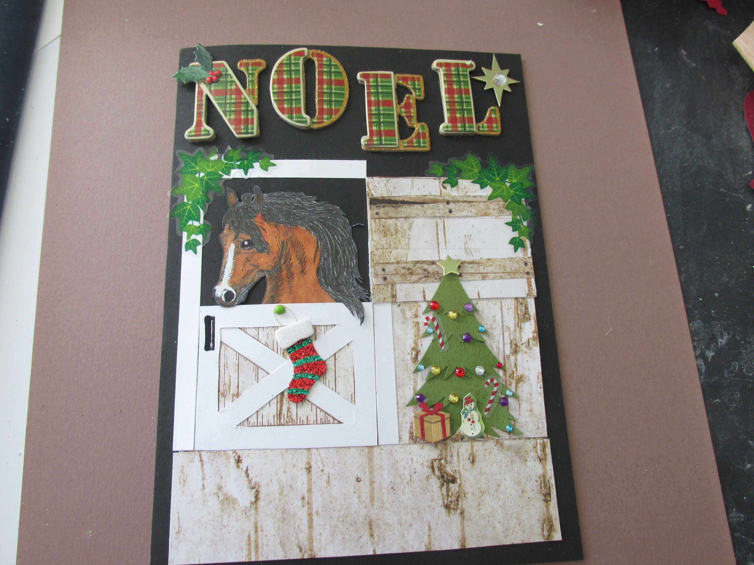 Horse In Stable Christmas Card Beautiful Horse Peeking Out Of Etsy