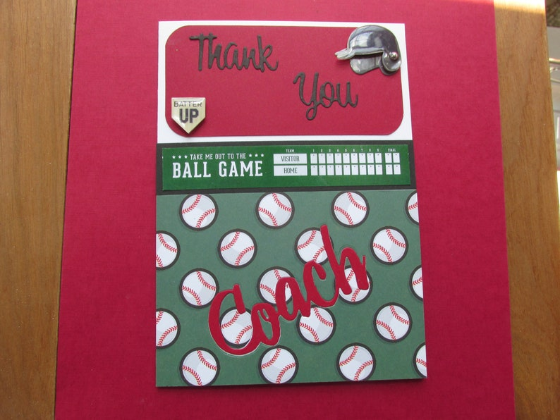 and score board Baseball Coach Thank you card Coach with banner Take me out to the BALL GAME Thank You