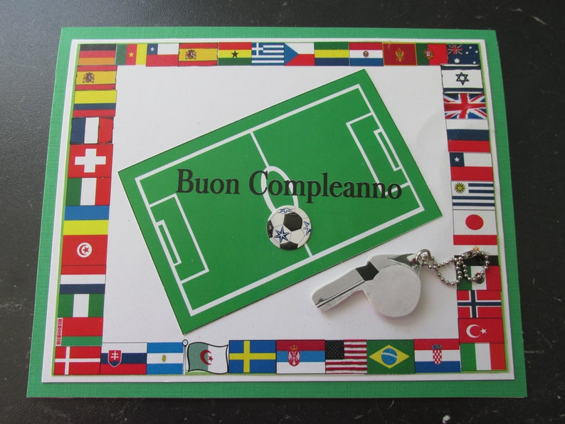 Italian Happy Birthday Card With The FIFA Flags Bordering