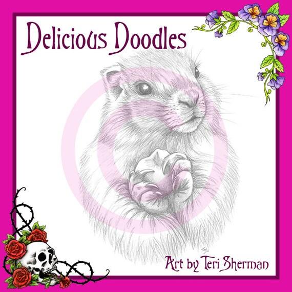 Escala de grises marmota boceto Ilustración sello Digital | Etsy