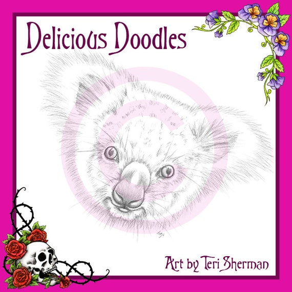 Escala de grises Koala oso boceto Ilustración sello Digital   Etsy