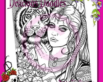 Bengal Beauty Illustration, Colouring Page, Coloring Page, Digital Stamp