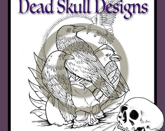 Four Ravens Colouring Page, Coloring Page, Digital Stamp, Skull, Dead Skull Designs