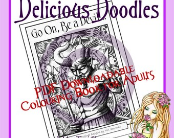 PDF Downloadable Colouring Book for Adults - 'Go On, Be a Devil', Gothic Theme