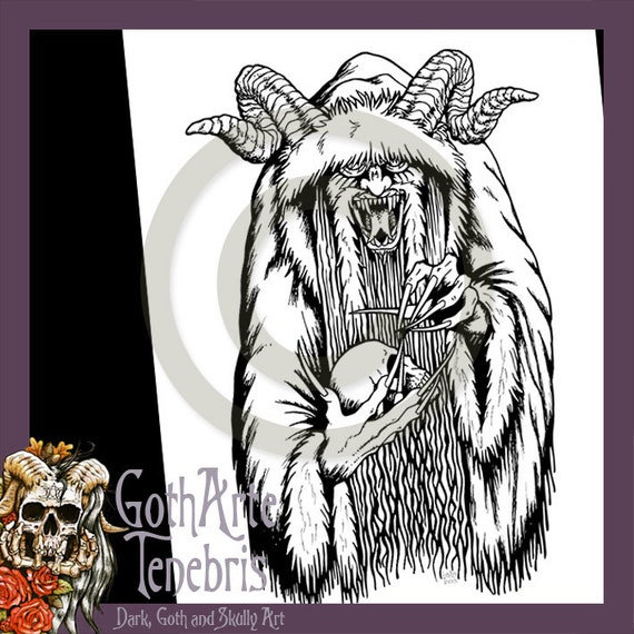 Krampus Gothic Illustration Colouring Page Coloring Page ...