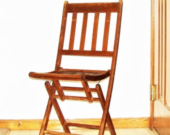 Wooden Slat Chair Folding Funeral Home Chair Nice Condition Great Design  Slats Bottom N Back