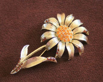 Sunflower Brooch, Large Gold Rhinestones Sunflower Brooch, Vintage Flower Pin, Retro Gold Floral Brooch