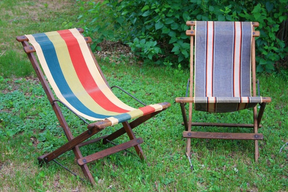 Beach Chairs Vintage Wooden Chairs Folding Sling Chairs | Etsy