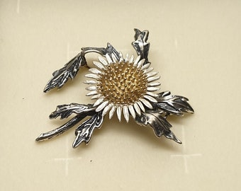 Art Deco lapel pin brooch silver 835 gold plated beads vintage flower branch floral SB417