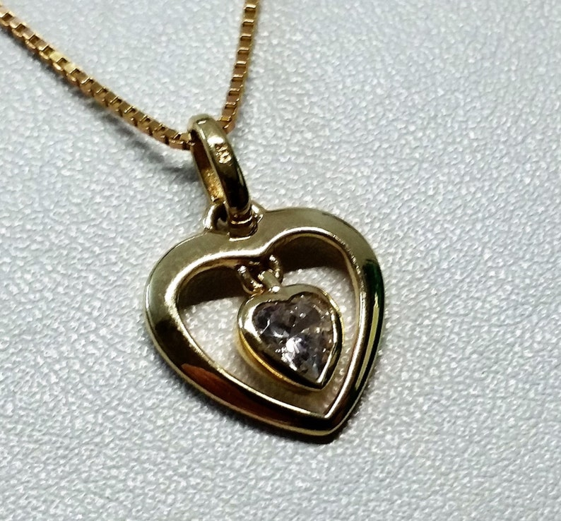 Pendant Heart Gold 333 Crystal Noble Vintage GA166