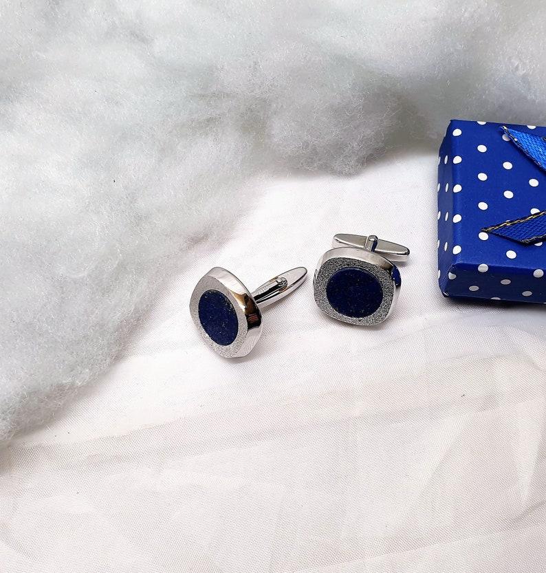 Designer Cufflinks Cufflinks Silver 835 Lapis Lazuli Noble Vintage MS230