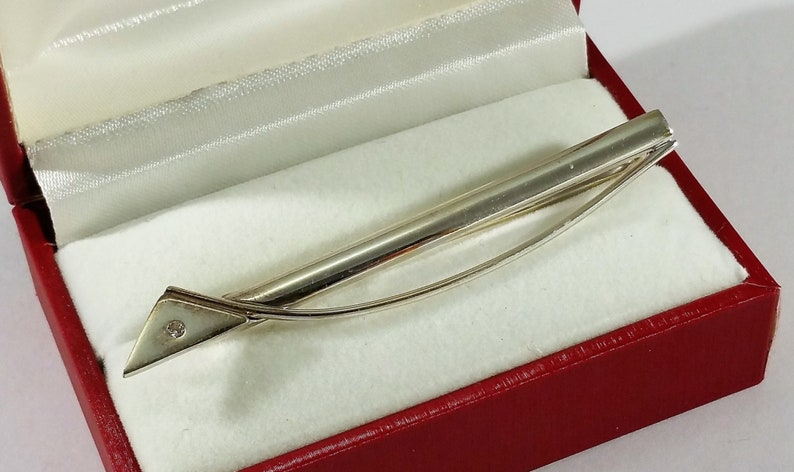 Tie Clip tie needle design silver 925 crystal stone stainless KN129