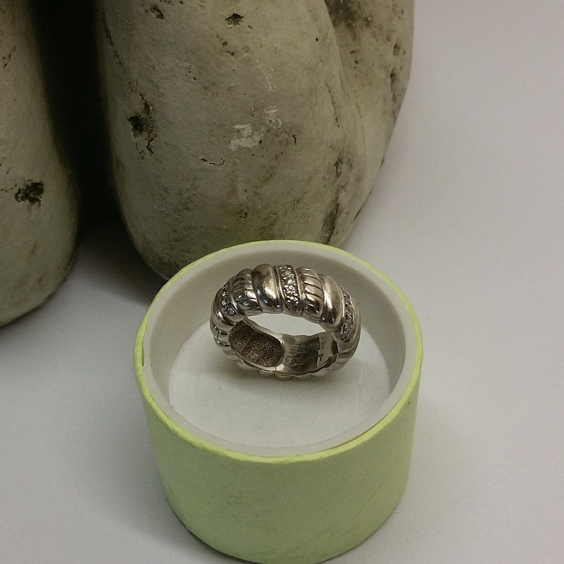 17.1 mm ring silver 925 crystals 80s SR977