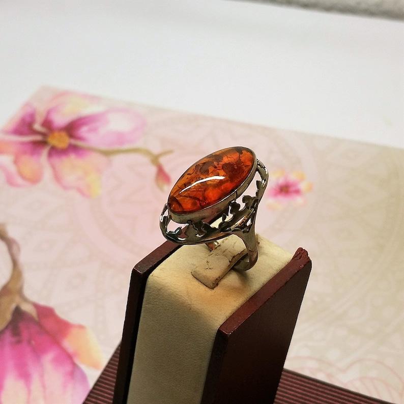 19.9 mm Nostalgic Ring Silver 835 Amber Vintage SR227