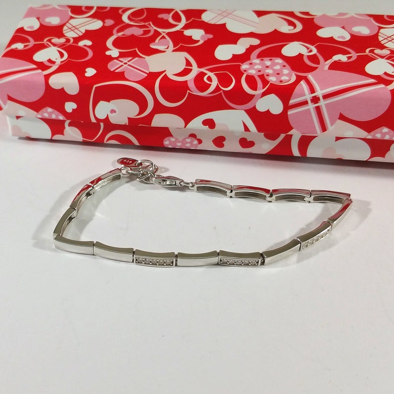 18.5-21.5 cm bracelet Bracelet Crystal Silver 925 80s elegant SA275