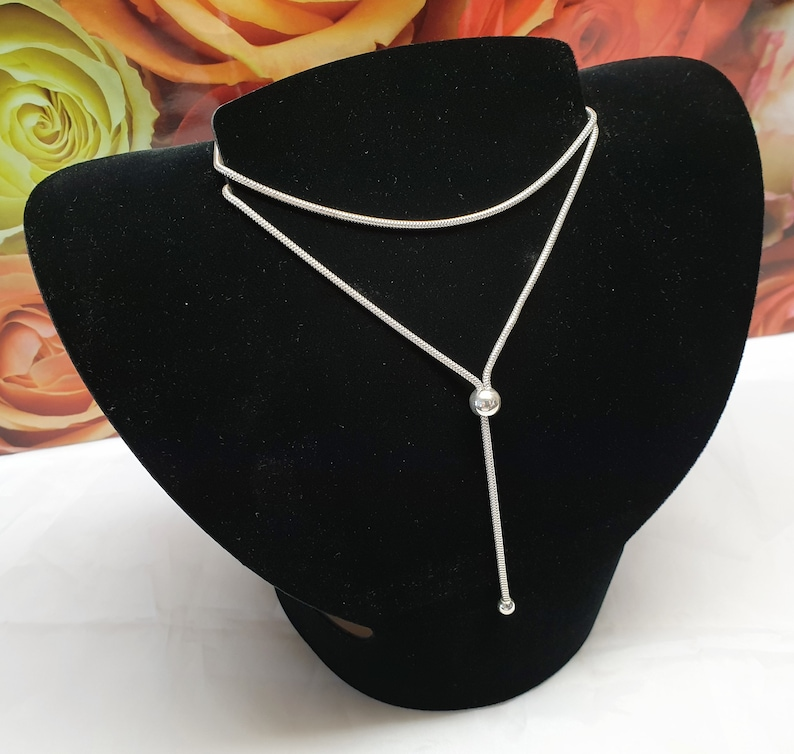 71 cm necklace Y-Kette Snake Chain Balls Silver 925 Vintage Noble SK1396