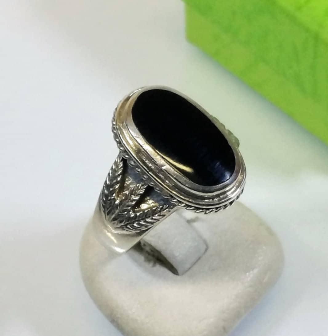 177 mm nostalgischer ring silber 925 onyx schwarz vintage. Black Bedroom Furniture Sets. Home Design Ideas