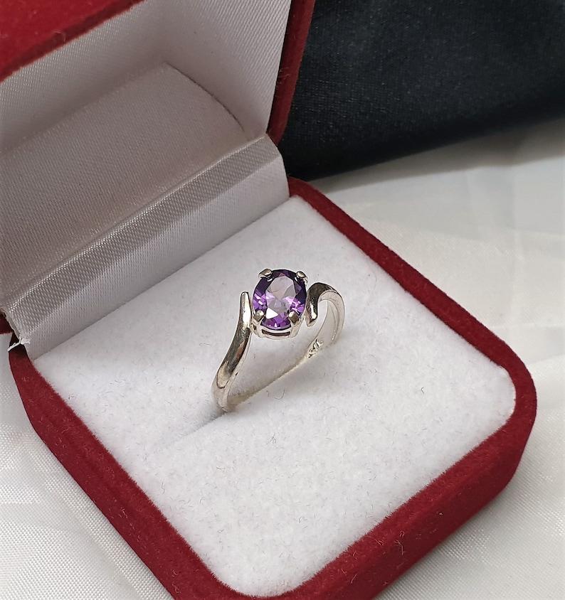 17.7 mm Ring Silver 925 Crystal Purple Noble VINTAGE SR763