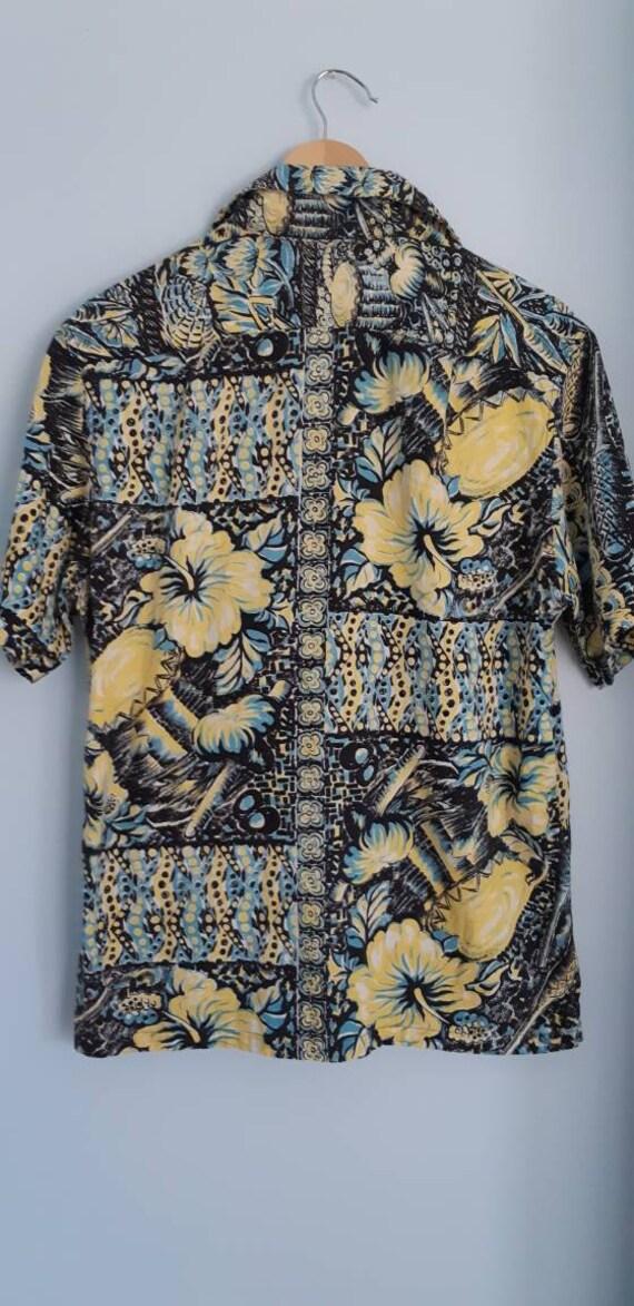 beach black drums Hawaiian vtg blue hollywood hawaii yellow shirt California lounge hibiscus wear Catalina 1950s and pool RARE YzFwZa