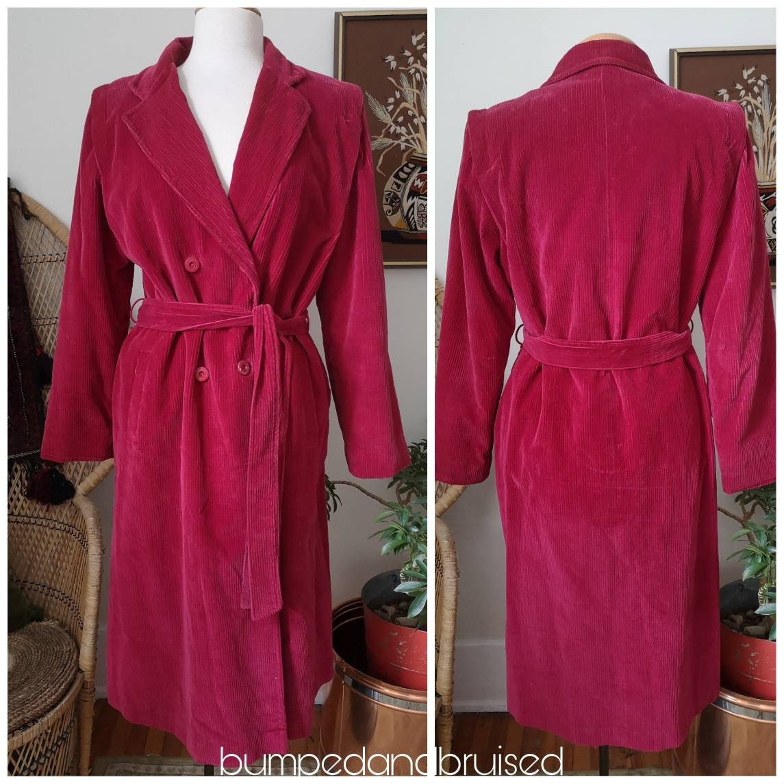 Vintage Scarf Styles -1920s to 1960s Red Corduroy Fall Trench Coat 90S Fashion Cottagecore Vintage M $26.00 AT vintagedancer.com