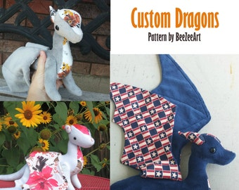 Custom Dragon Plush - made to order - multiple color options