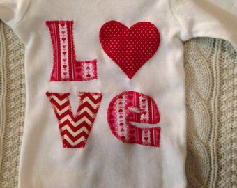 Love Heart Applique Onesie