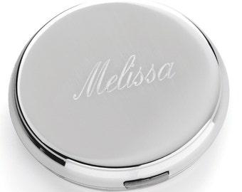 Silver Round Compact Mirror (c141-1147) - Free Personalization