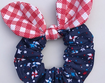 Red, White & Blue Hair SCRUNCHIE w/ Removable Bow ~ 4th Of July, Patriotic ~ 100% Cotton