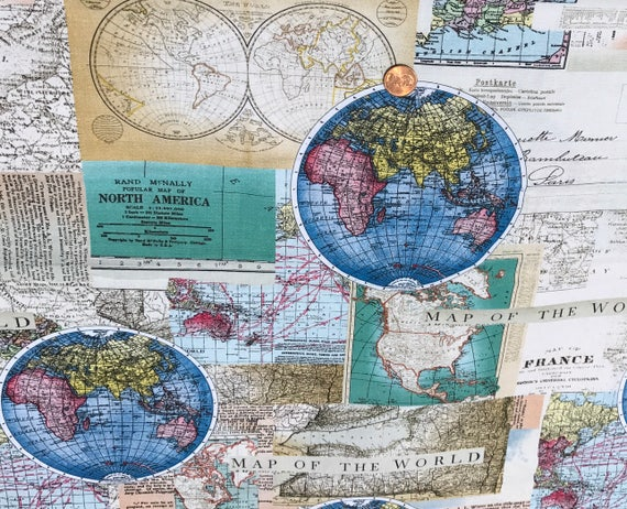 Rand McNally World Map Globe Cotton Fabric Fat