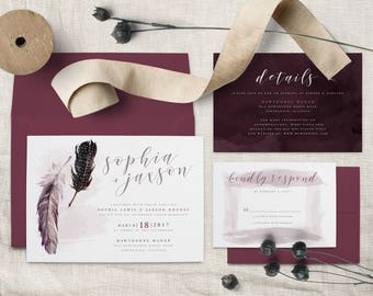 Bohemian Feather Wedding Invitation Suite