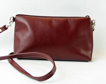 burgundy leather cross body bag, leather cross body