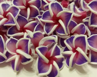 3 beads 20x20mm polymer clay flowers